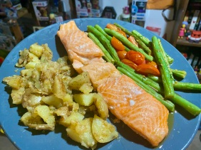 Roasted Salmon with Crispy Potatoes, Burst Tomatoes and Green Bea