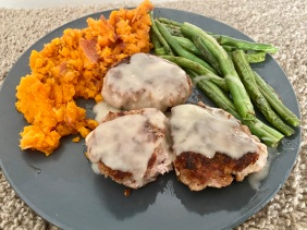 Pork and Parmesan Patties with sweet potato mash and green beans