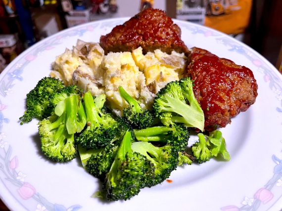 Classic Beef Meatloaf with Cheddar Smashed Potatoes and Roasted Broccoli