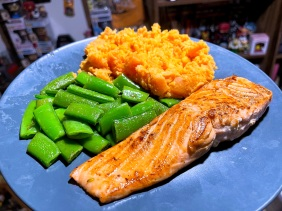 Soy-Maple Glazed Salmon with Sugar Snap Peas and Sweet Potato Mash