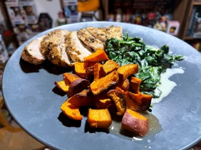 Montreal Spiced Chicken with Creamed Spinach and Roasted Sweet Potatoes