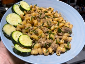 Cheeseburger Pasta with Parmesan Zucchini Rounds