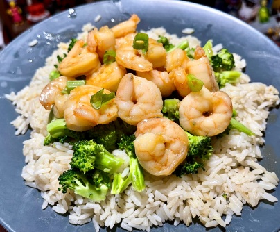 Honey Shrimp and Broccoli Stir-Fry with Ginger Rice