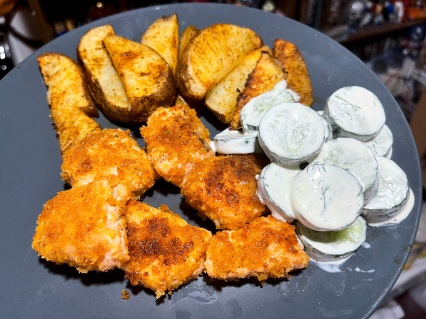 Salmon Bites and Chunky Fries with Cucumber Salad