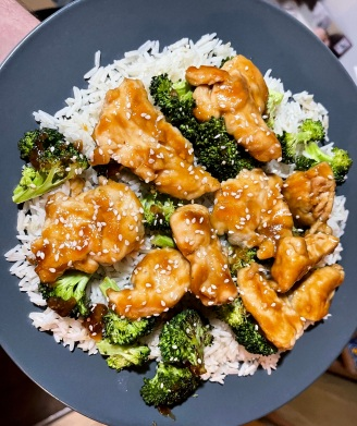 Chinese Orange Chicken with Sesame Rice and Roasted Broccoli